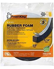 """Frost King R338H Cinta de espuma de caucho esponjosa 3/16 pulgadas, color negro, 3/8"""" W, 5/16"""" T, 10 ft L, Negro"""