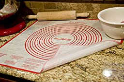 Ambrosial Silicone, Non-slip, 24x24 Inch Extra Large Mat, for Pastry, Dough, Pie Crust, with Measurements, Marshmallow Fondant Recipe, Tips and Tricks, Red and White