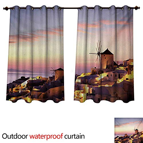 (Windmill Home Patio Outdoor Curtain Famous Santorini Island in Greece Houses Evening View Architecture Village Image W108 x L72(274cm x 183cm) )