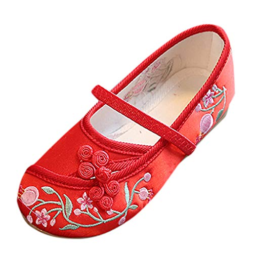 (Voberry- Kids Baby Casual Shoes Girls Embroidery Flower Ethnic Style Single Cloth Sandals Red)