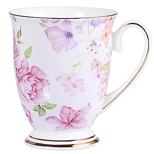 Royal Fine Bone China Coffee Mug Assorted colors Tea Cup 11 oz (1, red)