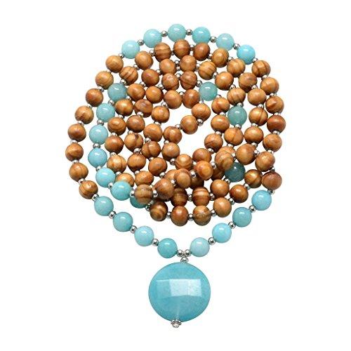 Set Wood Pendant (Shakti Mala Necklace - Authentic 108 Bead Tibetan Style Mala With Guru Pendant - Real Gemstones - Yoga & Jappa Meditation Prayer Beads (Amazonite & Wood))