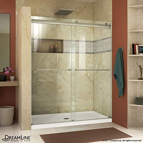 ( DreamLine SHDR-6360760-04  Essence 56 to 60 in. Frameless Bypass Shower Door in Brushed Nickel Finish)
