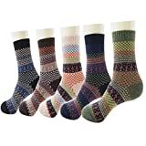 Men's Wool Knitting Socks Winter Warm Cashmere Socks Vintage Style Mixed Color Socks 5 Pairs (Fine Grid)