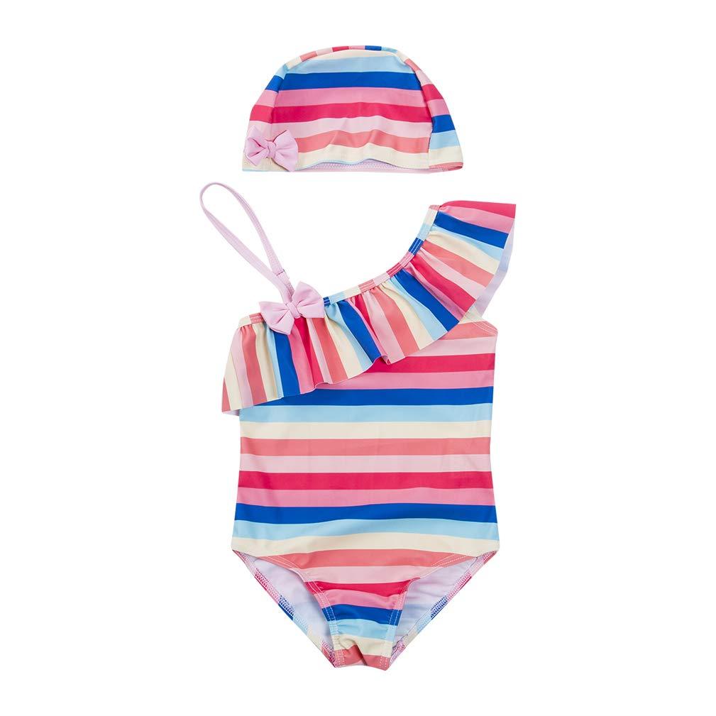 Toddler Little Girls One Piece Rainbow Striped Swimsuit Swimwear One Shoulder Ruffled Bathing Suit Bikini with Hat