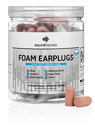 SoundBarren Foam Earplugs, 30 Pairs, Ultra Soft Individually Wrapped with Highest Level of Hearing Protection | Comfortable Sound Blocking for Sleeping, Shooting, Snoring, Construction & Concerts