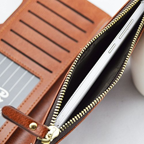 Pidengbao Women's Long Solid Zipper Hasp Clutch Wallet Dark Coffee by Pidengbao (Image #5)