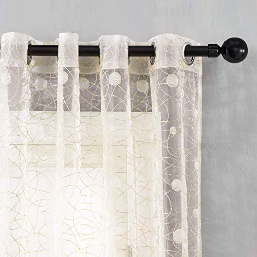 (Top Finel Wide Voile Sheer Embroidered Polka Dot Curtains Grommet Top for Bedroom & Living Room,54X84 Inch,Beige,Set of 2)