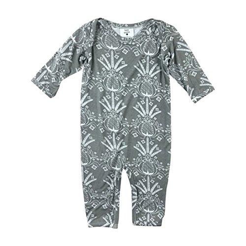 Kate Quinn Organics Unisex-Baby Long Sleeve Lap Neck Jumpsuit, 6-12M (Pineapple)