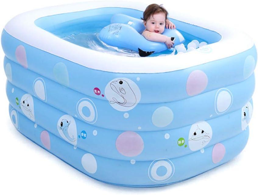 XYFL Piscina Inflable Familiar, Fácil De Plegar Y Guardar, Equipo De Natación para Niños, Bañera Grande para Bebés, Almohadilla De 4to Piso para Bebés (Color: Azul)