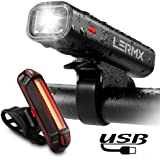 Bike Lights,Bicycle Headlight with [Free Bike Taillight], LERMX USB Rechargeable Bicycle Lights Set Powerful Lumens LED Bike Lights Front and Back for Kids Adults Road Cycling Safety Flashlight