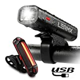 Bike Lights,Bicycle Headlight with [Free Bike Taillight], LERMX USB Rechargeable Bicycle Lights Set Powerful Lumens LED Bike Lights Front and Back for Kids Adults Road Cycling Safety Flashlight For Sale