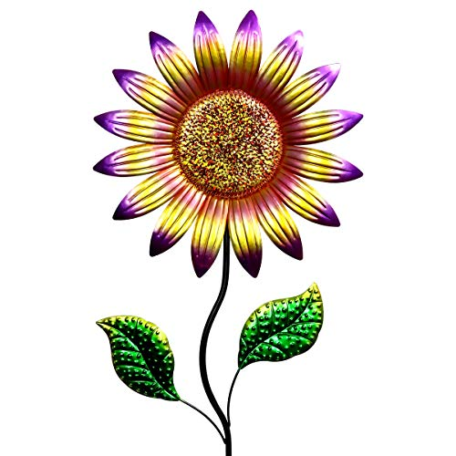 Exhart Metal Sunflower Garden Stake - Red Multicolored Sunflower Metal Stakes with Hand-Painted Metallic Coat - Bright Sunflower Decor Ideal for Sunflower Gifts & A Beautiful Home Garden, 16