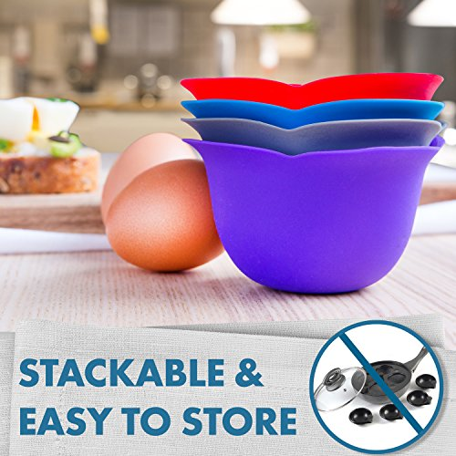 Silicone - Poaches Eggs Perfection Without the Stress or Mess of for Easy and Cleaning - BPA Free, Microwave, Stove Dishwasher