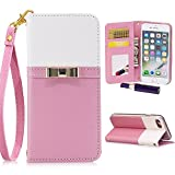 iPhone 7 Plus Wallet Case,iPhone 8 Plus Case for Women,Kudex Slim Leather Magnetic Detachable Strap Glitter Floral Design Mirror&Card Slots Folio Stand Protective Case (Pink, iPhone 7 Plus/ 8 Plus)