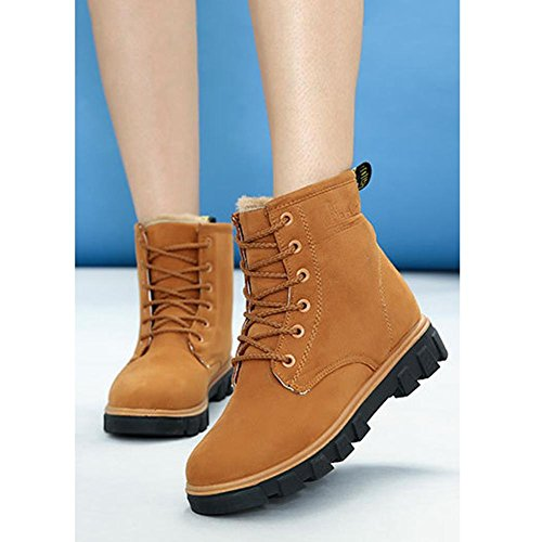 Women Ankle Short Boots Flat Heel Winter Leather Warm Casual Comfort Shoelace Snow Cotton Shoes BROWN-37 WAv1d