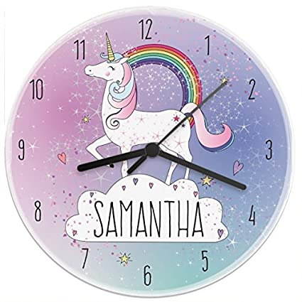 Personalized Unicorn Wooden Wall Clock Decorative Silent Non-ticking Funny Novelty Home Decor Wall Art