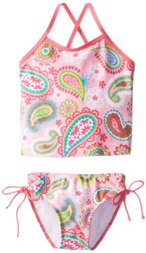 Kanu Surf Toddler Girls' Alexa Beach Sport 2-Piece Banded Tankini Swimsuit, Secret Garden Pink Paisley, 2T -