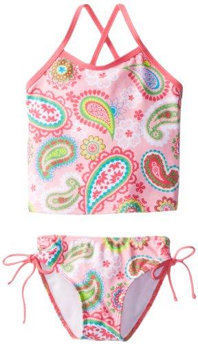 Kanu Surf Toddler Girls' Alexa Beach Sport 2-Piece Banded Tankini Swimsuit, Secret Garden Pink Paisley, 2T - Girls Clothing 2 Piece