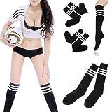 1pair Soccer Baseball Football Basketball Sport Over Knee Socks Men Women Striped Cotton Knee Stockings - Black