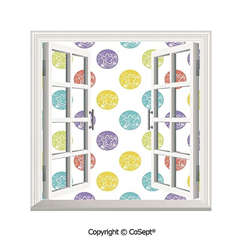 (SCOXIXI Window Wall Sticker,Star Stamps Pattern Grunge Retro Style Art Print Modern Toddler and Baby Playroom,3D Window View Decal Home Decor Deco Art (26.65x20 inch))
