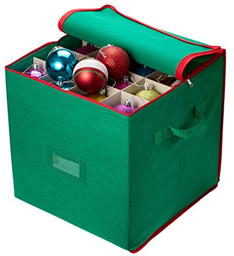 Christmas Ornament Storage - Stores up to 64 Holiday Ornaments, Adjustable Dividers, Zippered Closure with Two Handles. Attractive Storage Box Keeps Holiday Decorations Clean and Dry for Next Season.]()