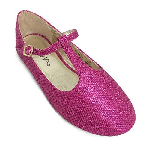 BellaMarie Triss-13k Mary Jane Ballet Flats FUCHSIA Glitter Shoes 11 US Little Kid (Pink Kids Dress Shoes)