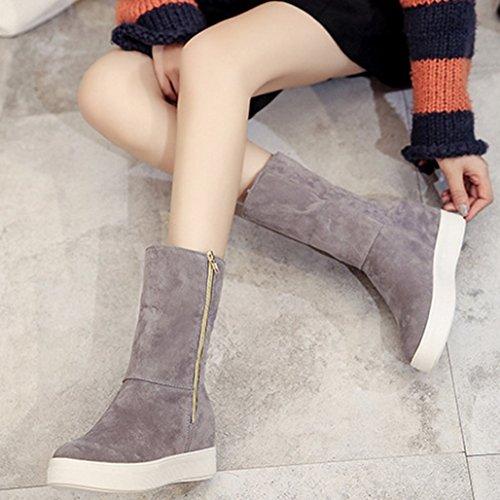 Zapatos de Otoño Invierno Tefamore Mujer de Anti Moda ajustable Clásico Botas deslizante de Casual Suave Gris de Rw6qd6xF