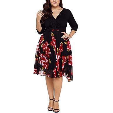 Clearance Sale! Oliviavan Women Plus Size Dresses, Ladies Floral V Neck  Long Sleeve Wrap Chiffon Prom Dress