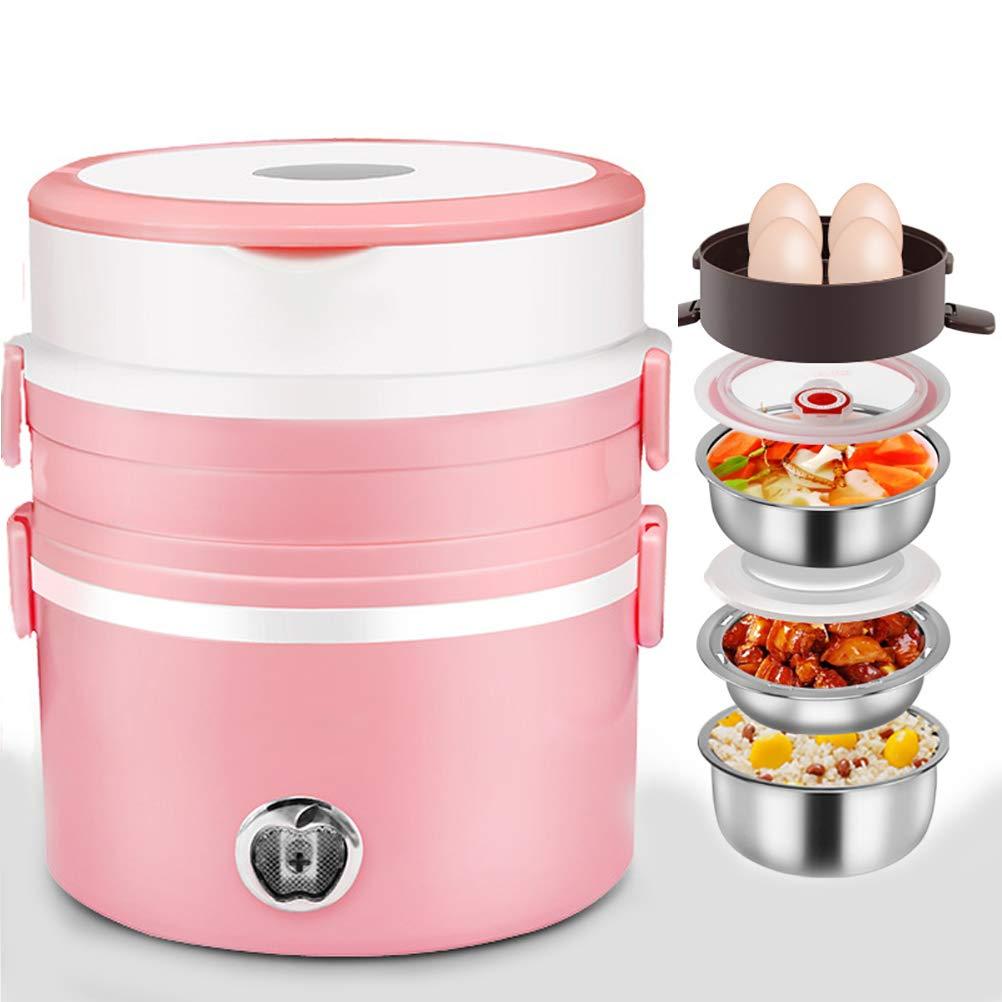 Acquisto MIRC Lunch Box Elettrico, scaldavivande, Set riscaldatore Portatile per Il Pranzo, Scatola di conservazione degli Alimenti a 3 Strati,Pink Prezzi offerte
