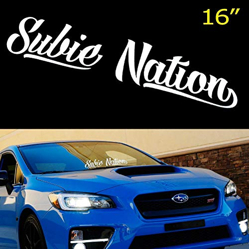 iJDMTOY 16 by 3 Inches White Subie Nation Banner Vinyl Decal Sticker for Subaru WRX/STi BRZ Impreza Legacy etc. Front or Rear - Subaru Decal