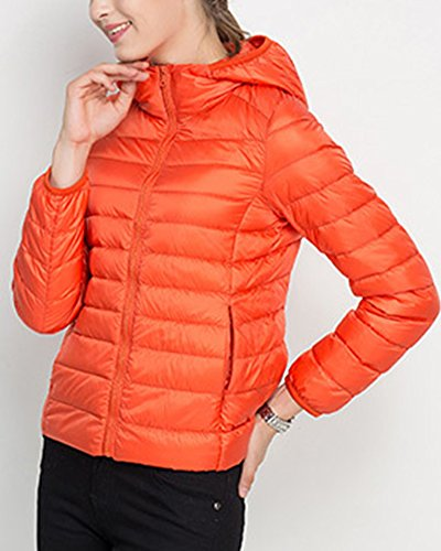 Hooded Jacket ZhuiKun Quilted Orange Down Lightweight Puffer Women's Coats 7qqCFwY