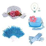 GILAND Girls Tea Party Set Dress Up Play With Sunhat,Handbag,Fans,Jewelry (Light Blue)