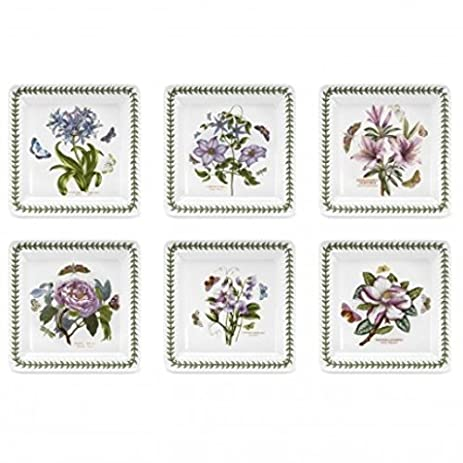 Amazon.com | Portmeirion Botanic Garden Square Dinner Plates, Set of ...