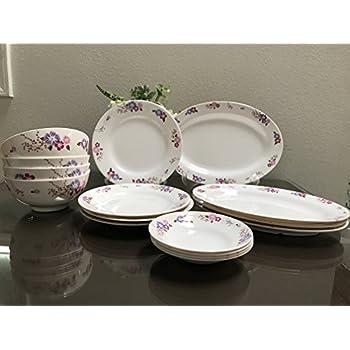 MrTableware 16-Piece Melamine Dinnerware Set Flower V212  sc 1 st  Amazon.com & Amazon.com | MrTableware 16-Piece Melamine Dinnerware Set Flower ...