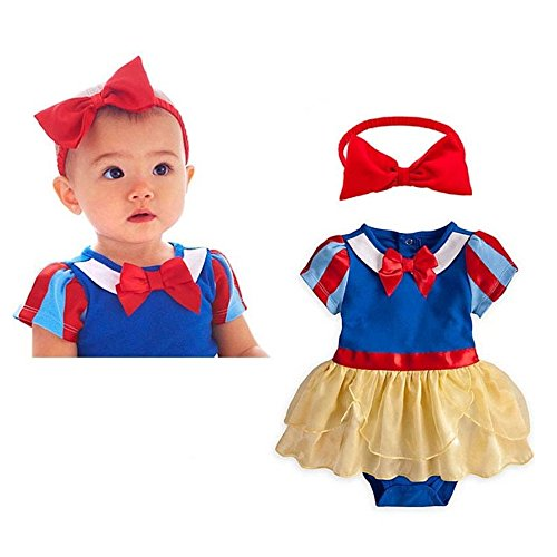 IWEMEK Baby Girls Snow White Costume Birthday Tutu Romper Dress Headband Outfits for Halloween Christmas Party #A 6-12 Months ()