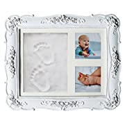 Premium Unique Handprint Footprint Clay DIY kit for Newborn Boy Girl and Pets Ideal for baby Shower Gifts,Registry, New Mom, Parents or Nursery Wall Decorations Memorable Keepsake Baby Picture Frame