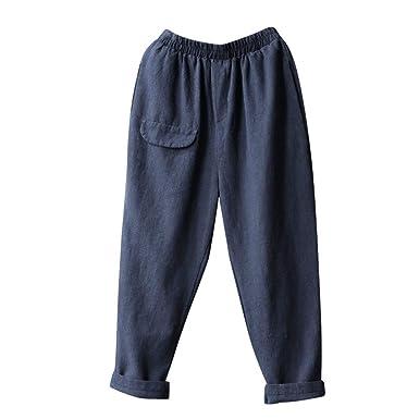 cheap for discount e9b9b cfacd Sunenjoy Vêtements Femme Pantalon Causal Coton Lin Ample Fluide Confortable  Plage Casual Pantacourt Retro Large Couleurs Unies Loisir Chinos en Coton  Taille ...
