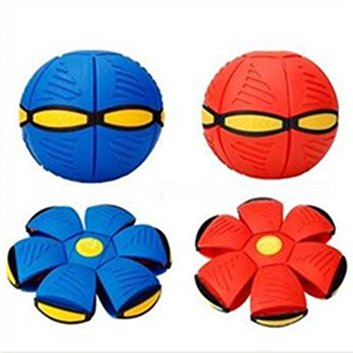 (GracesDawn Novelty Flying UFO Flat Throw Disc Ball Toy 6 LED Lights Dazzling Performances Fancy Soft Kids Outdoor Spiderman (red))