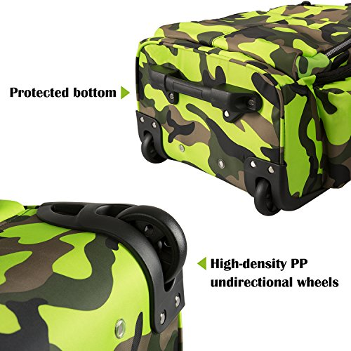 20 inches Big Storage Waterproof Wheeled Rolling Backpack Travel Luggage for Boys Students School Books Laptop Bag, Green Camouflage by HollyHOME (Image #6)