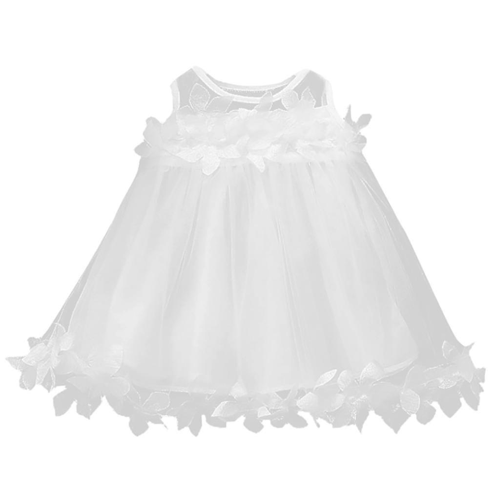 PAOLIAN Vestidos para Bebe niñas Verano 2018 Fiestas Blanco Hilado Neto  Vestidos Costura de Florales Sin Manga Moda Falda Tutu Ropa para Bebe niñas  de 12 ... e0502a5f28f3