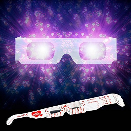 31981d48033 Amazon.com  5 GloFX Heart Effect Paper Diffraction Glasses  5 Pack  - SEE  HEARTS! 3D Holographic Fireworks Kids Bulk Cardboard Rave EDM Party  Sunglasses  ...