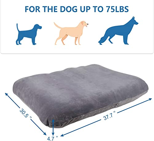 Large Dog Bed Crate Pad Mat Washable Pet Sleeping Beds with Removable Cover, Non Slip Dog Cushion Mattress Grey