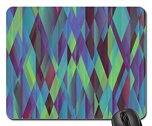 Geometric Filigree Diamond - Mouse Pads - Geometric Blue Green Violet Diamonds Pattern 1