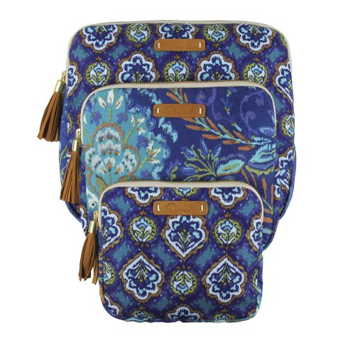 - C.R. Gibson Dena Accessories Zippered Cases, Indigo, Set of 3