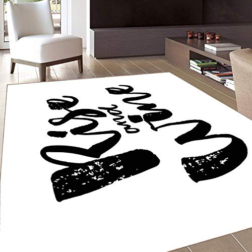 Rug,FloorMatRug,Funny Words,AreaRug,Rise and Wine Brush Calligraphy Quote Humorous Saying Drink Motivation Fun,Home mat,5'x8'Yellow and Ivory,RubberNonSlip,Indoor/FrontDoor/KitchenandLivingRo