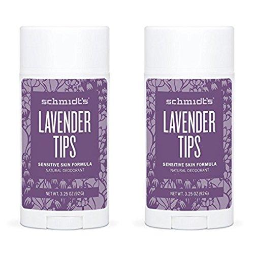 Schmidts Natural Deodorant - Lavender Tips 3.25 Oz Sensitive Skin Stick; Aluminum-Free Odor Protection & Wetness Relief (Pack Of 2)