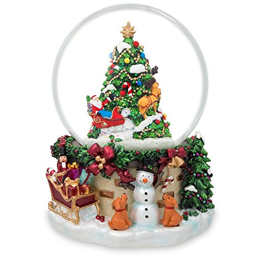 (BestPysanky Snowman & Dogs Watching Santa Musical Snow Globe )