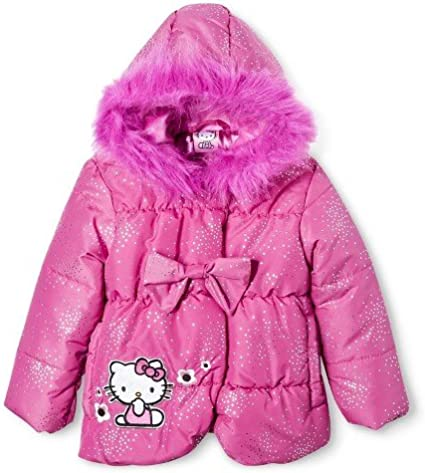 Hello Kitty Infant//Toddler Girl/'s Puffer Fleece Lined Pink Winter Jacket Sz 2T
