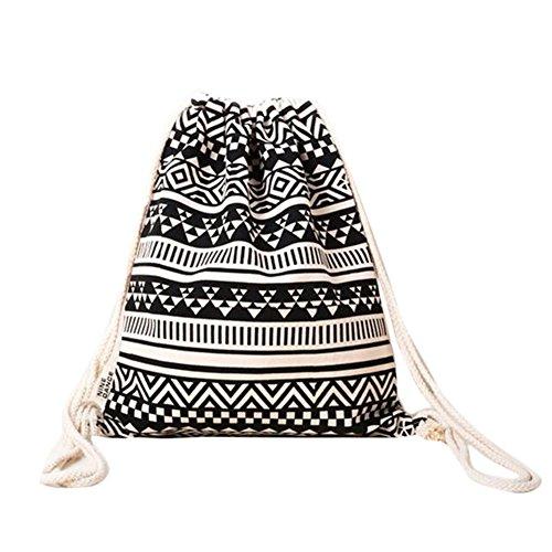 Da. WA lienzo hombro mochila bolsa cordón bolsa mochilas mochila bolsa de viaje (negro y blanco)